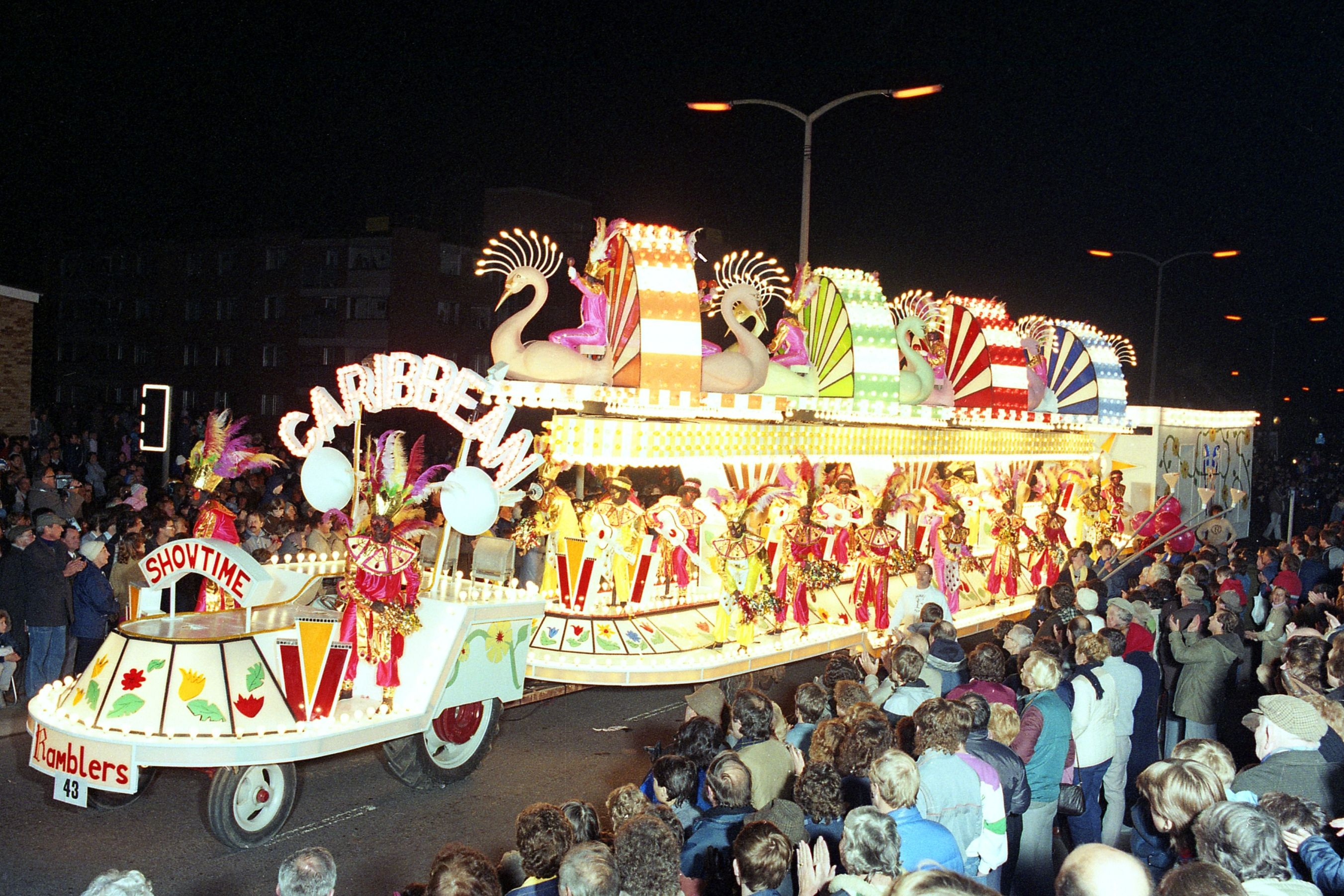 "Ramblers CC with ""Caribbean Showtime"" at Bridgwater Carnival 1986. Somerset, UK."