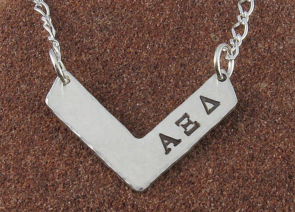 Alpha Xi Delta Chevron Design Sterling Silver Pendant