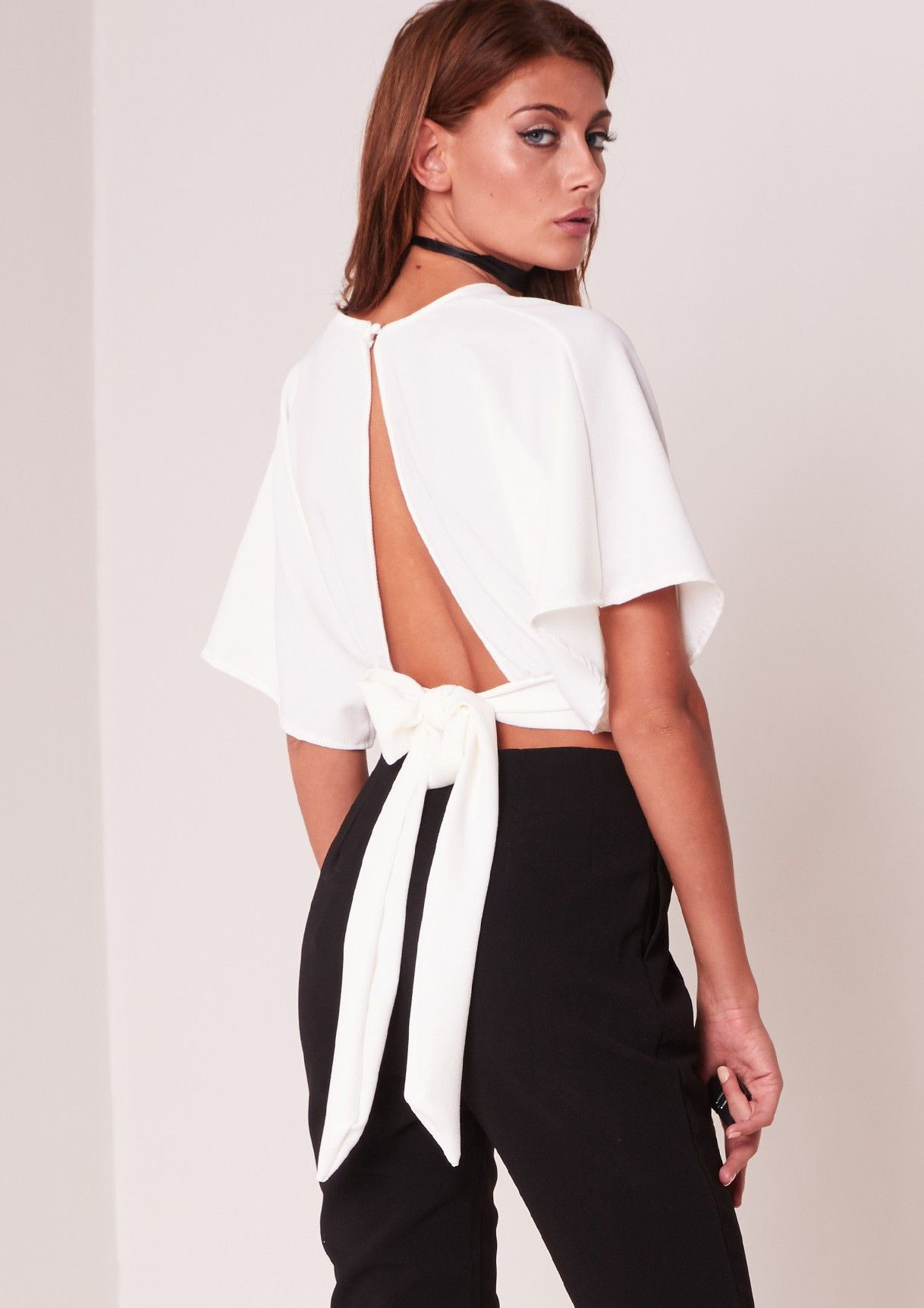 Bethany White Batwing Cropped Tie Back Top | Cigarette trousers ...