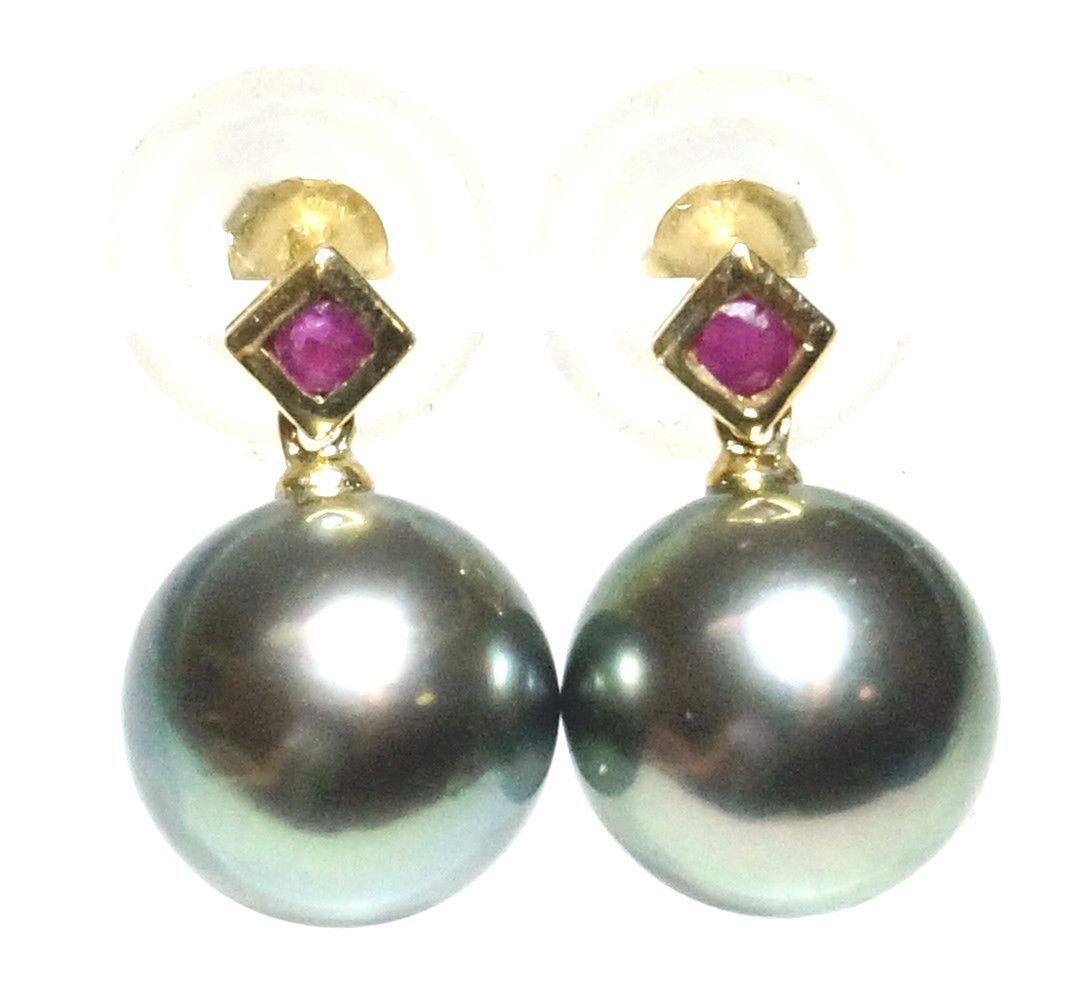 Natural Ruby 14k Y Gold Tahitian Round Peacock Black Pearl Earrings