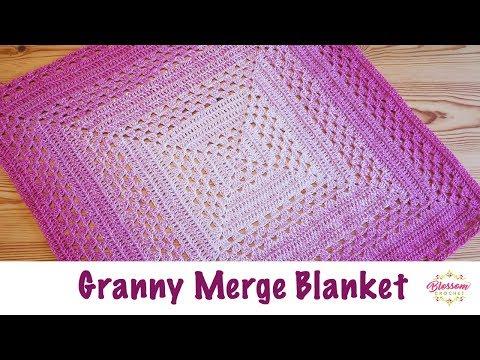 54 Blossom Crochet The Granny Merge Baby Blanket Youtube Crochet Square Blanket Crochet Baby Easy Crochet Baby