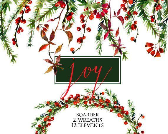Christmas wreath floral. Watercolor clipart wreaths border