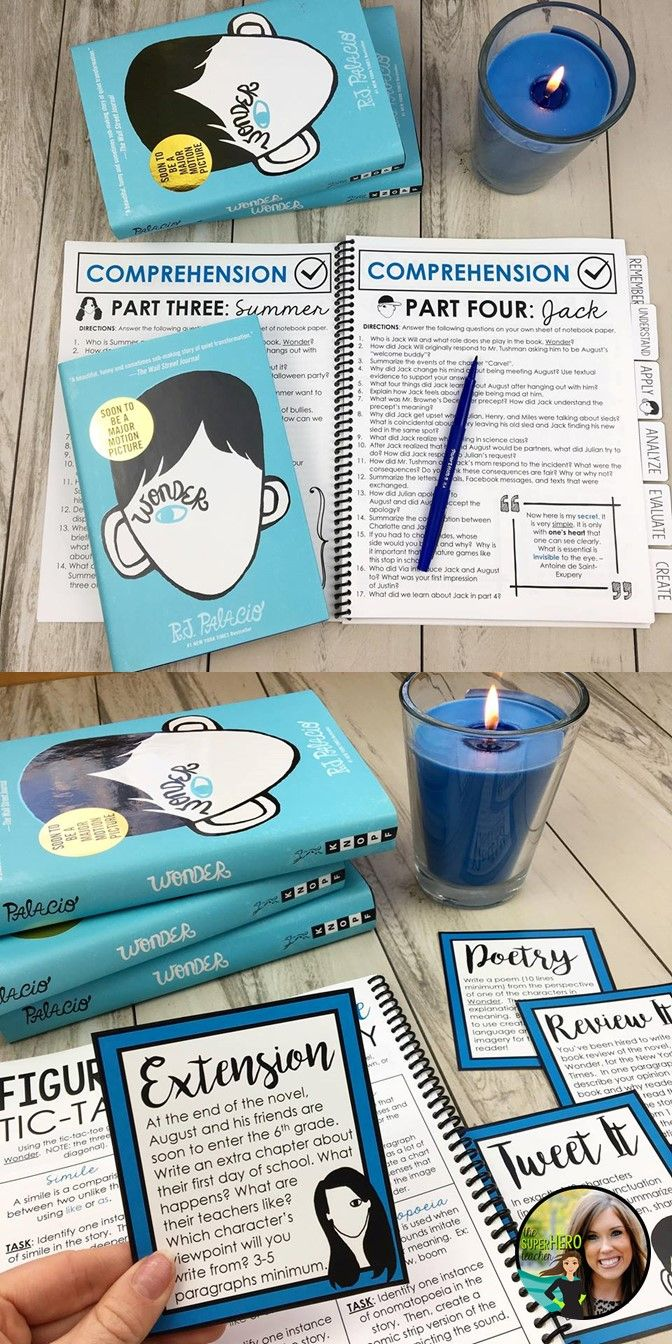 Wonder Unit | Wonder by R.J. Palacio novel study | Wonder task cards |  Wonder questions