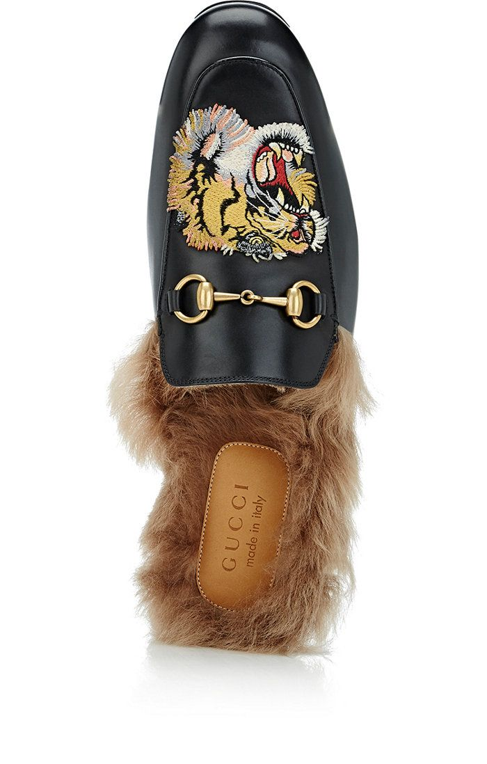 cc158eb05d61 Gucci Princetown Fur-Lined Leather Slippers