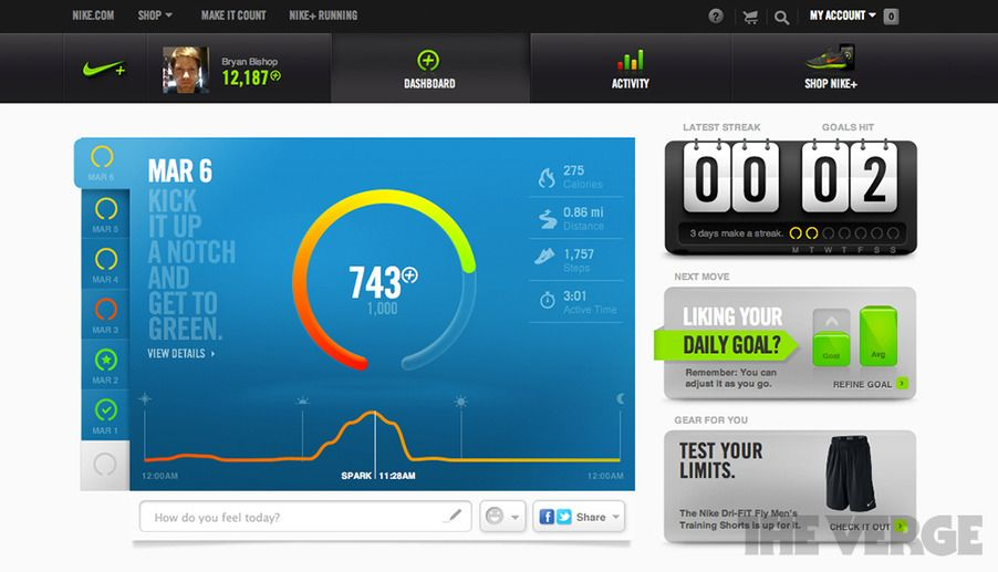 Nike+ FuelBand iOS app and website