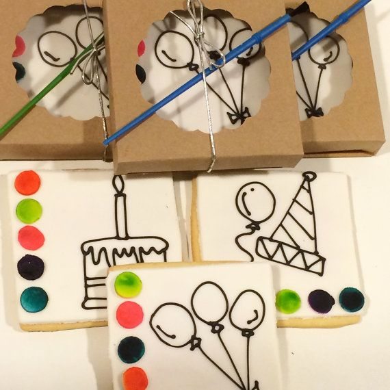 paint your own Party Favor  Birthday  4 Boxed by MiniBitesCookies