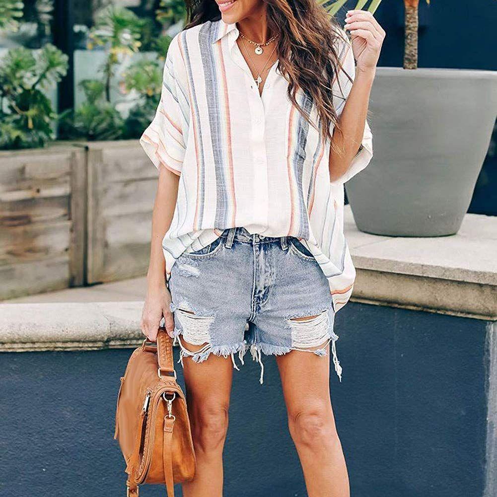 Naggoo Womens Casual 3//4 Sleeve Summer Tunic Tops Loose Basic Shirt