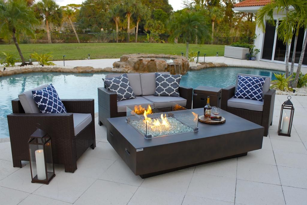 65 Rectangular Outdoor Propane Gas Fire Pit Table In Brown In