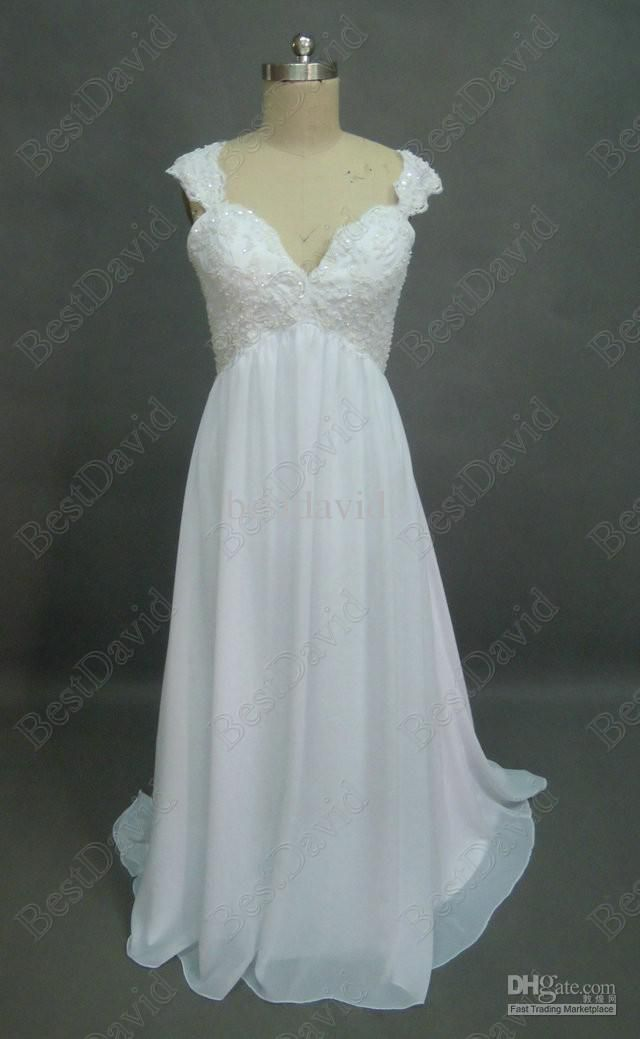 Vintage Princess Deep V Bare Back Maternity Bridal Gown SD3008 Beach ...