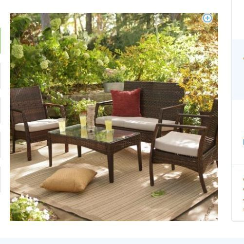 Wicker patio furniture all weather resin set outdoor living home garden seats 4