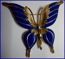 Trifari blue enameled butterfly brooch