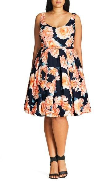 beautiful! plus size belted floral print sleeveless fit & flare