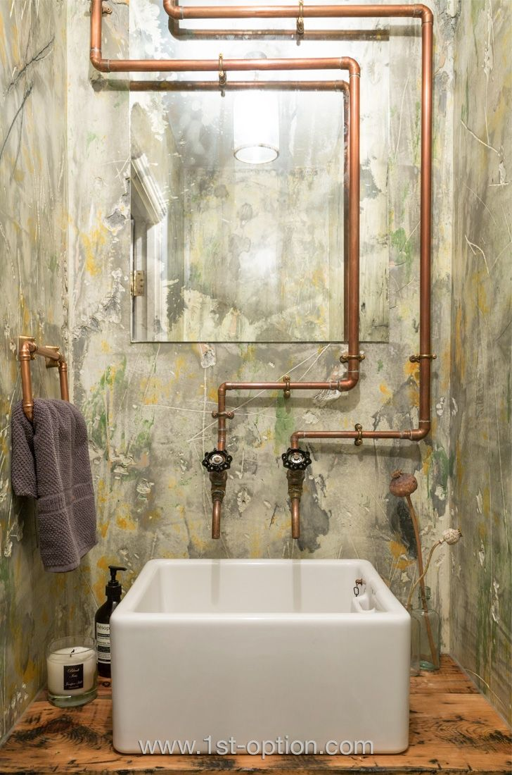 Tuyauterie en cuivre apparente dans la salle de bain | La salle de ...