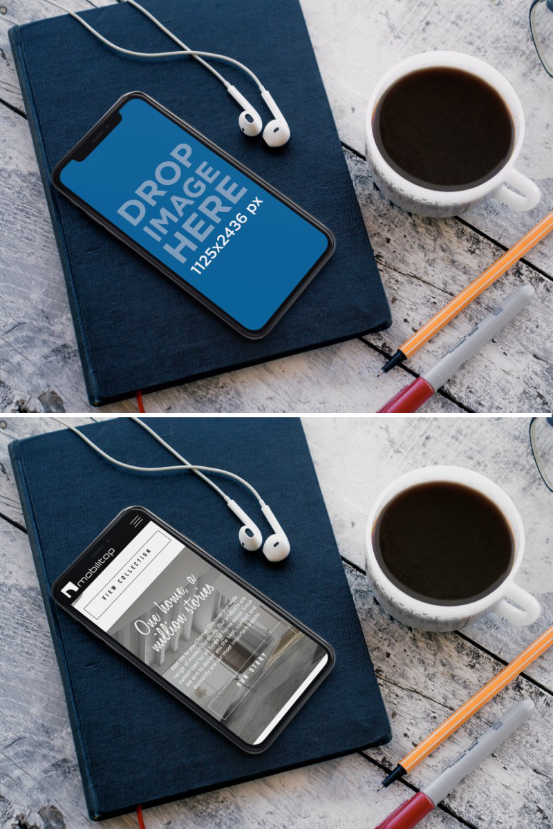 iPhone X Mockup Lying on top of a Book While Near a Coffee