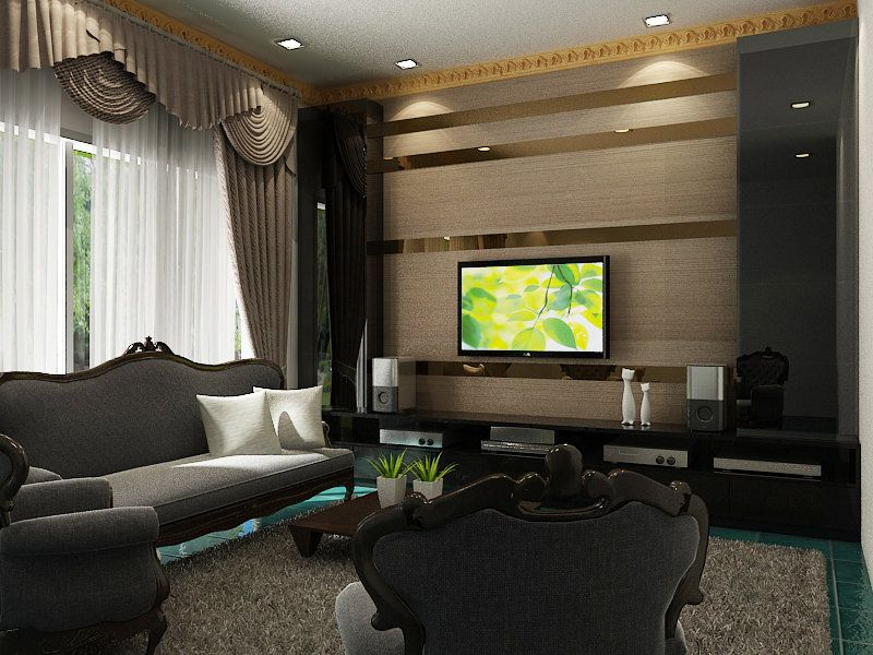 Tv feature wall design the strips of mirrors erases the - Feature wall ideas living room wallpaper ...