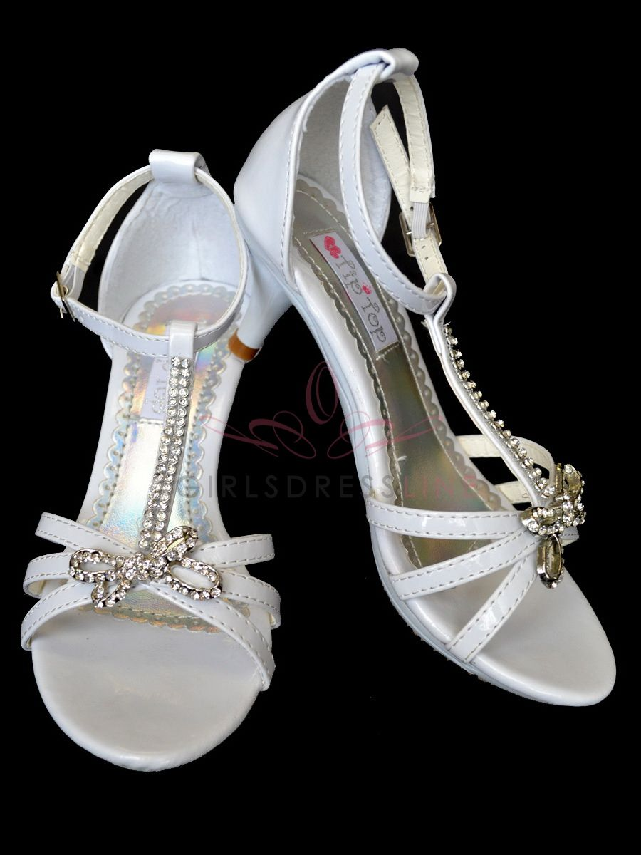 White Flower Girl Girl Shoes With Rhinestones For The Flowergirls