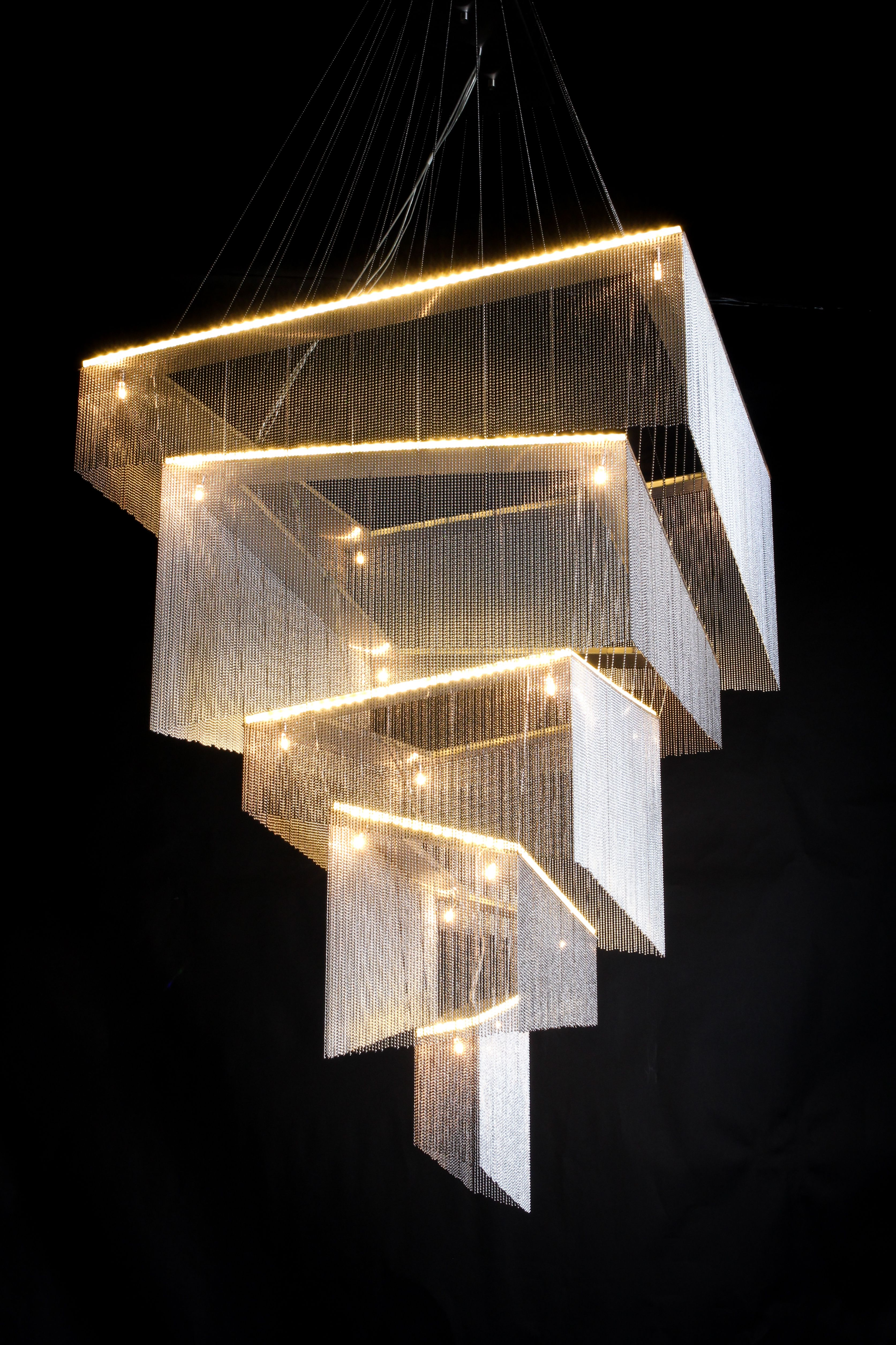 Geometric Storm A Distorted Geometric Composition Of Rectilinear Volumes Inspired By The Cubist Art Luxury Bedroom Lighting Interior Lighting Lighting Design