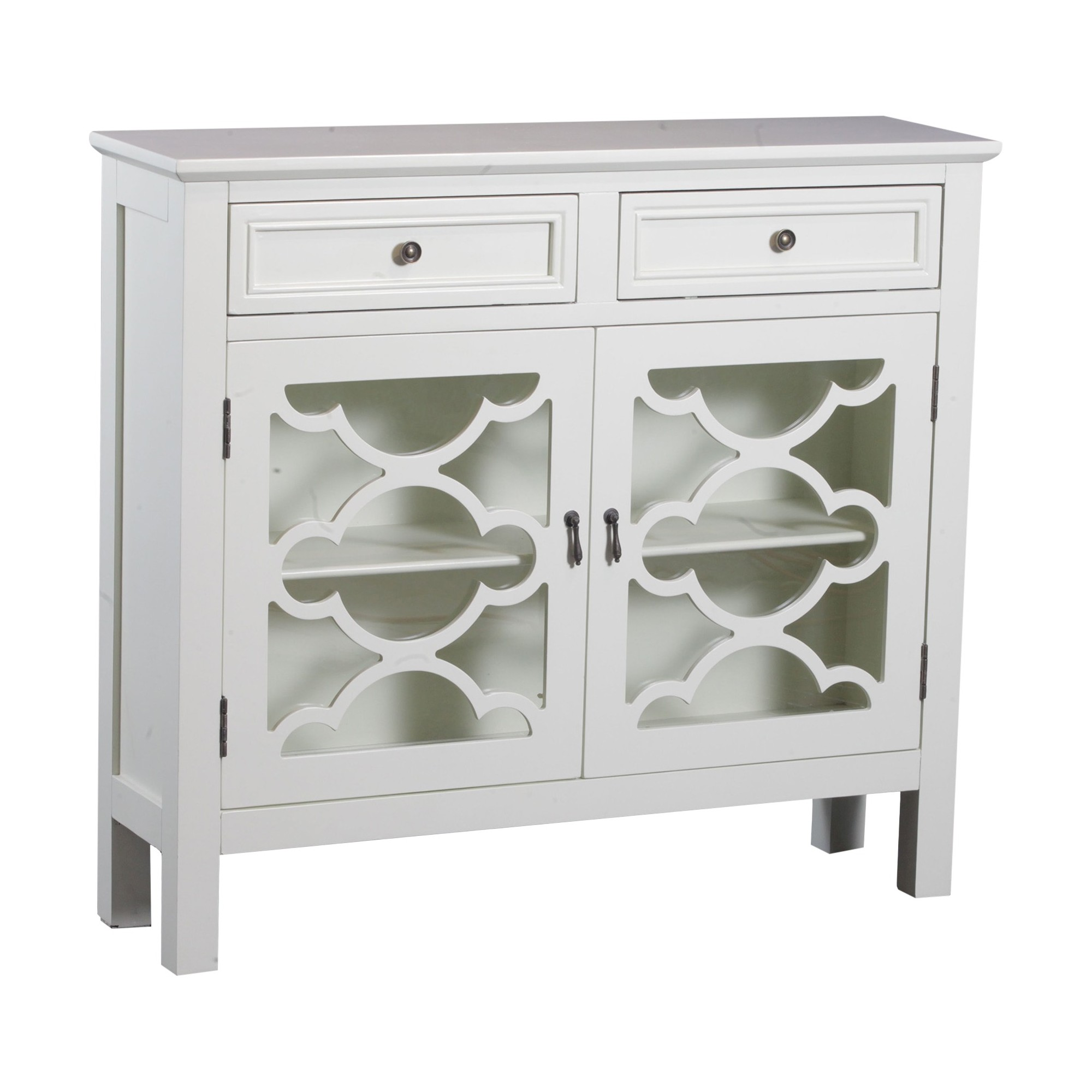 Kaitlyn Slimline Console Cabinet   Off White   Oak Grove Collection, White