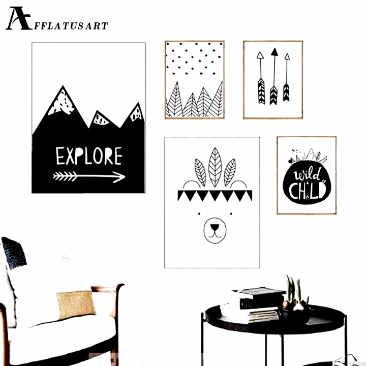 Afflatus Explore Child Wall Art Canvas Painting Nordic Posters And Prints Black White Nursery Wall Pictures Kids Room Decor Posters And Prints Nordic Poster Wal