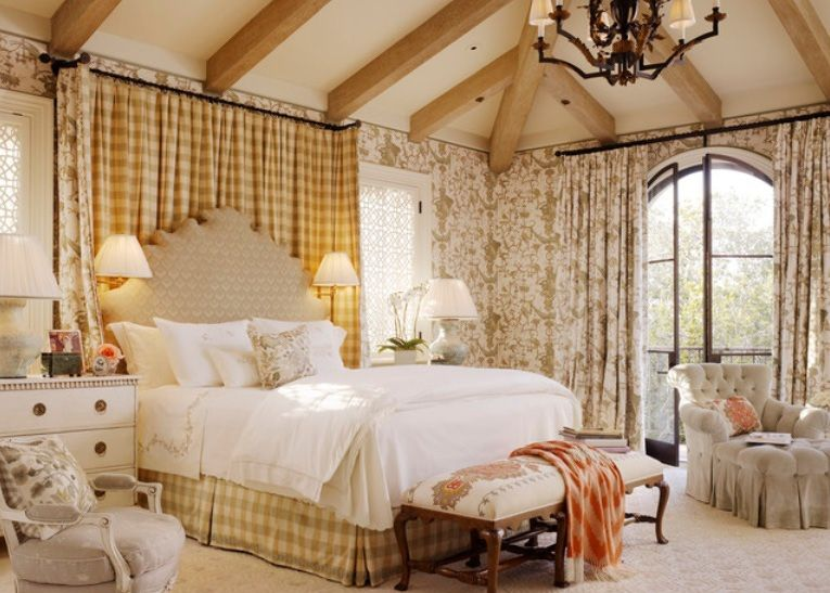 Double Size Bed With Curtain Headboard And Side Tables With Drawers And  Lamps In Traditional Bedroom Design Ideas