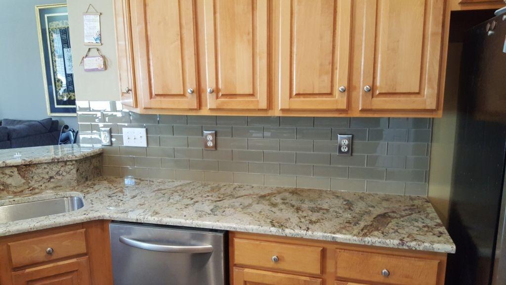 Typhoon Bordeaux Granite Countertops with 3x8 glass almond ... on Typhoon Bordeaux Granite Backsplash Ideas  id=32531