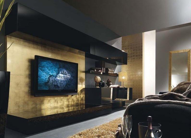 Moderne Wohnwand OASI 120 Presotto Italia Wohnwand Pinterest - wohnzimmer weis schwarz gold