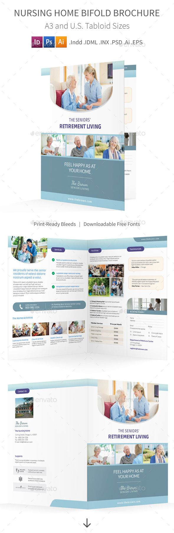 Nursing Home Bifold  Halffold Brochure  Brochures Brochure