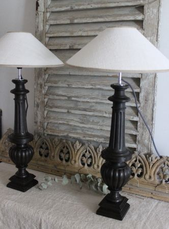 lampe balustre patin e en noir les couleurs de brocantine les couleurs de brocantine la. Black Bedroom Furniture Sets. Home Design Ideas