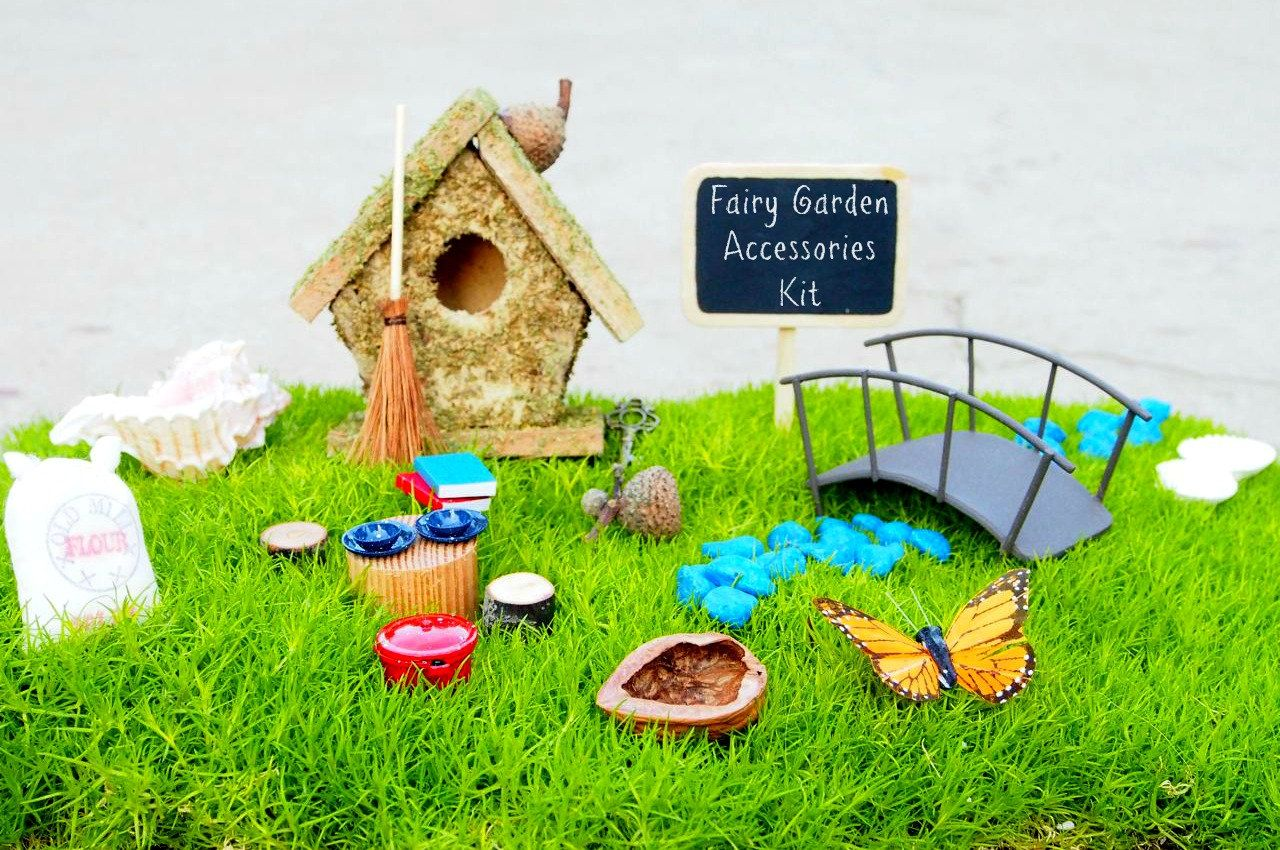 Home garden kit  Fairy Garden Accessories Kit Miniature Furniture Gnome Home