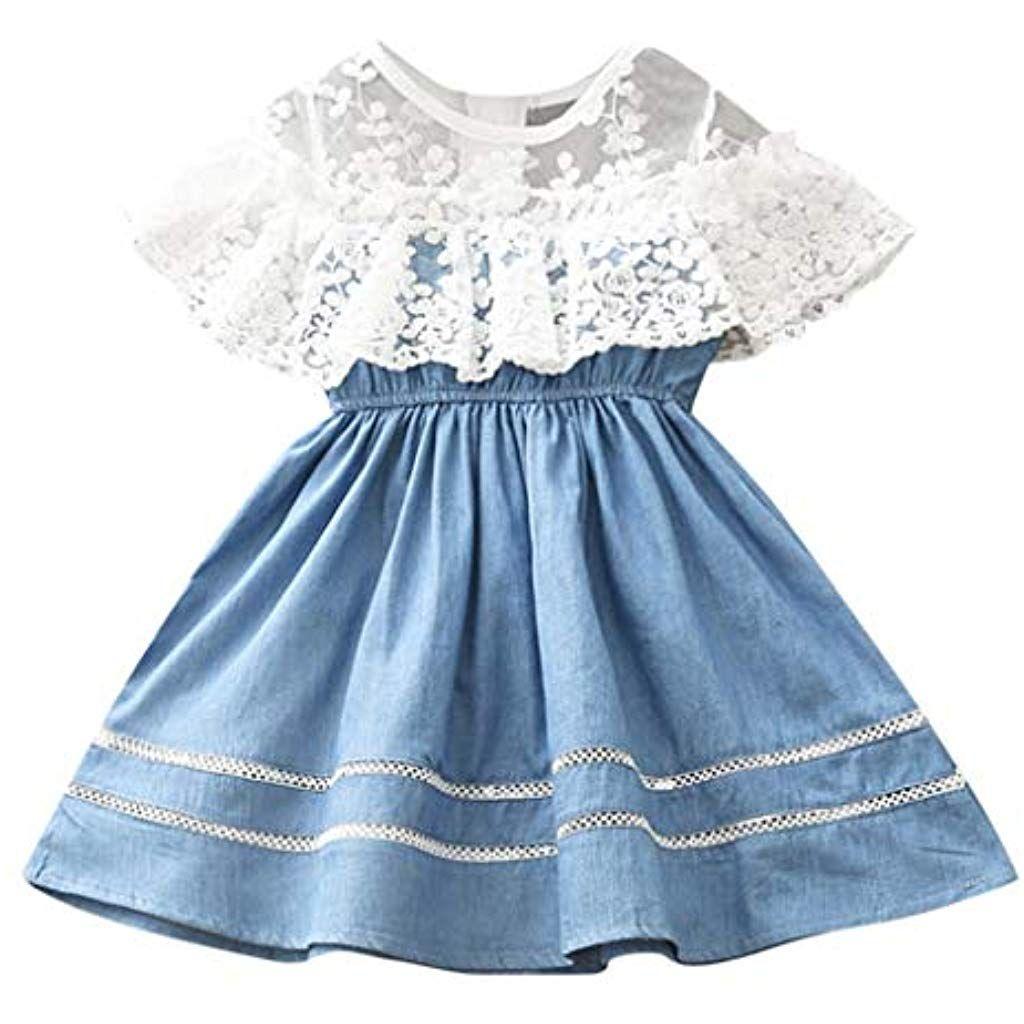 Prinzessin Kleid Pwtchenty Spitze Denim Dress Baby Kleider M/ädchen Jeanskleid Schulterfreies Denimkleid /Ärmellos Jeans Shirt Kleid