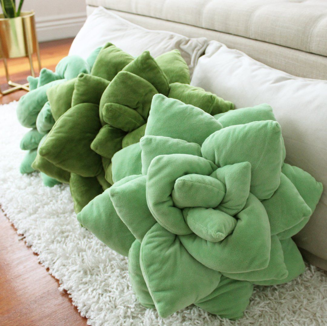 3D Succulent Flower Plush Pillow Cushion - Olive Green