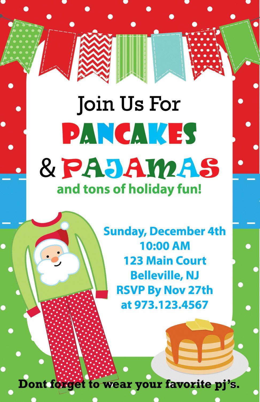 Pancakes and Pajamas Christmas Invitation Printable JPEG 5x7 Red ...