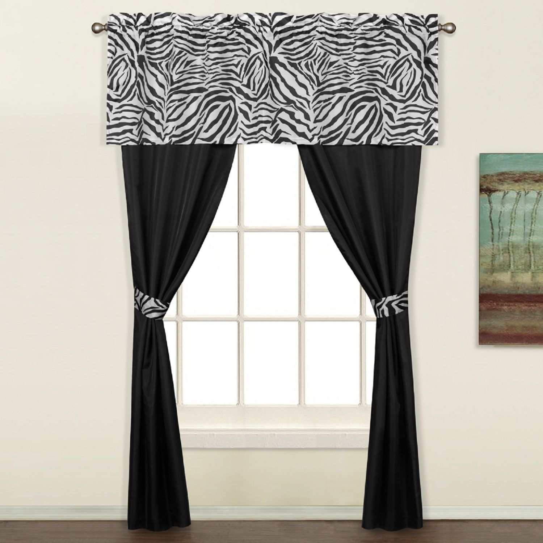 Zebra window curtains - Zebra 5 Piece Decorative Curtain Set By United Curtains Light Weight Sheer Fabric