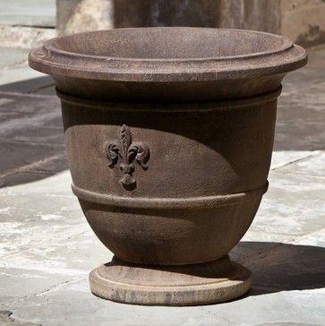 Campania International Fleur De Lis Small Cast Stone Urn Planter  Traditional Outdoor Planters