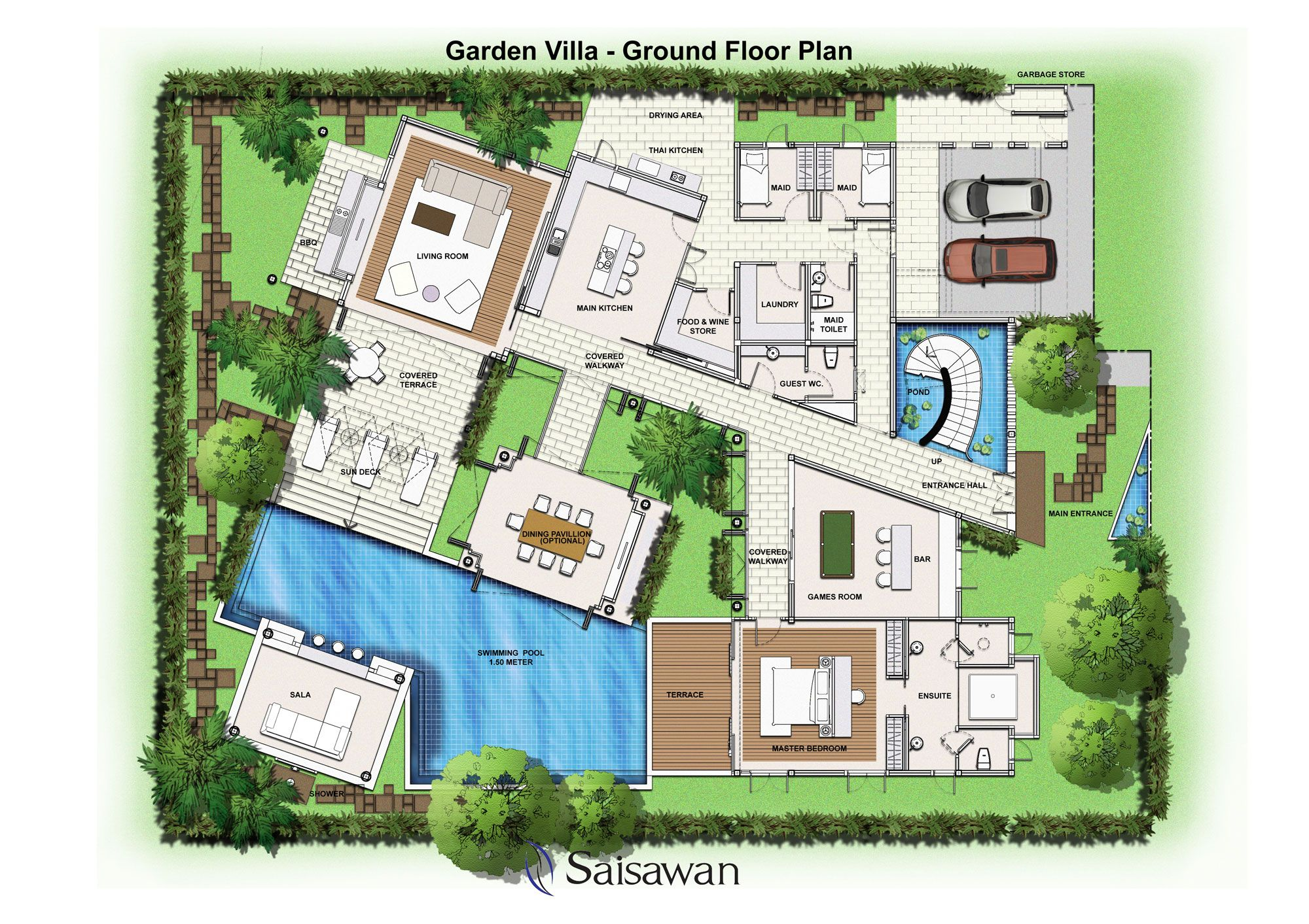 Saisawan garden villas ground floor plan house plans for Villa architecture design plans