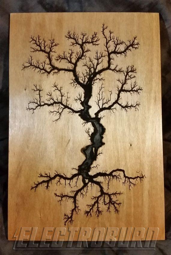 High Voltage Woodburning Lichtenberg Tree Figure By