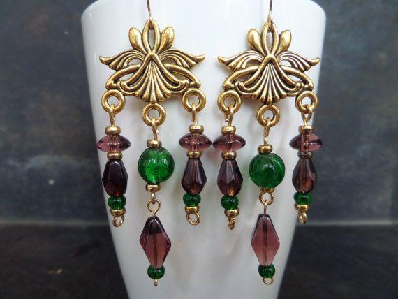 Fashion Style Earrings,Dangling Chandelier Earrings,Elegant Dangle Earrings,Gypsy Dangle,Large Dangle Drops Earrings,Amethyst Glass Earrings
