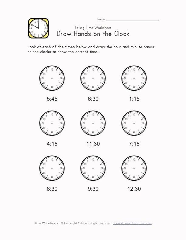 Kids Learn Time Worksheet 15 Minute Intervals Clock Worksheet Telling Time Worksheets Time Worksheet Time worksheets grade 2