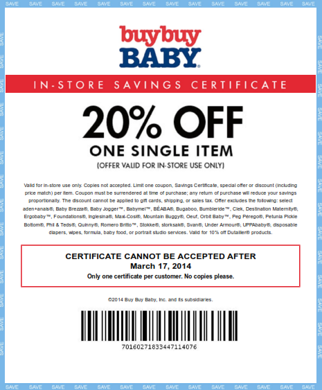 Get 20 percent off one single item at Buy Buy Baby with