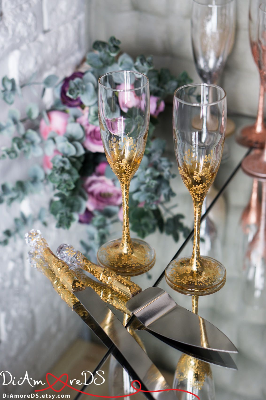 Lace gold personalized wedding set champagne flutes