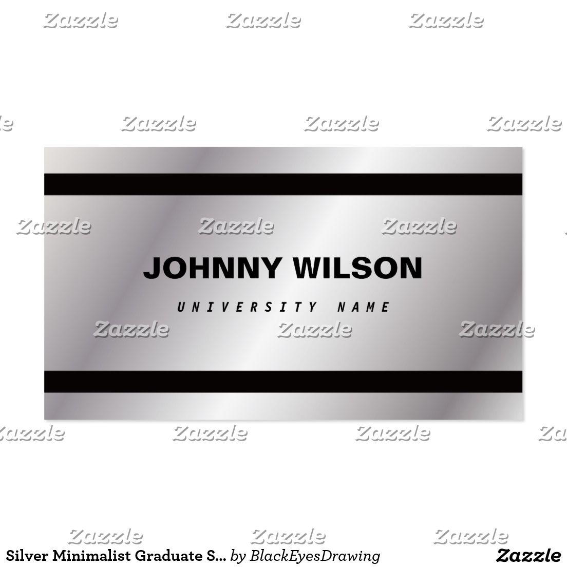 Silver minimalist graduate student business card for Phd student business card
