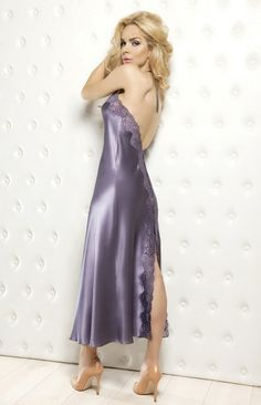 fast delivery classic wholesale outlet Nuisette longue satin bleu marine Yoko | Nuisette satin ...