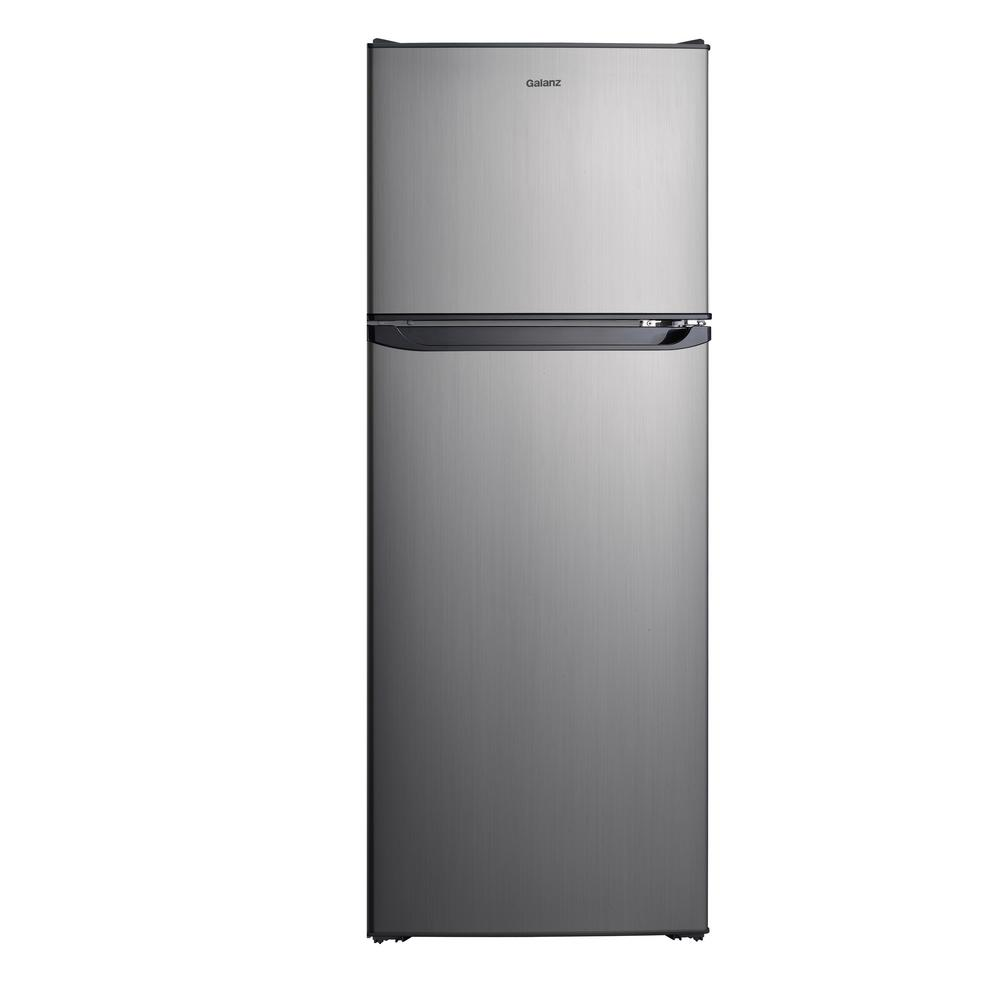 Galanz 10 0 Cu Ft Top Freezer Refrigerator With Dual Door Frost Free In Stainless Steel Look Glr10ts5f The H Top Freezer Refrigerator Freezer Refrigerator