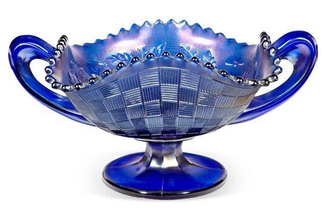 Blue Carnival Glass Handled Bowl