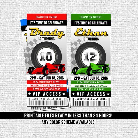 RACE CAR TICKET Invitations Birthday Party (Printable Files) Go - printable ticket invitations