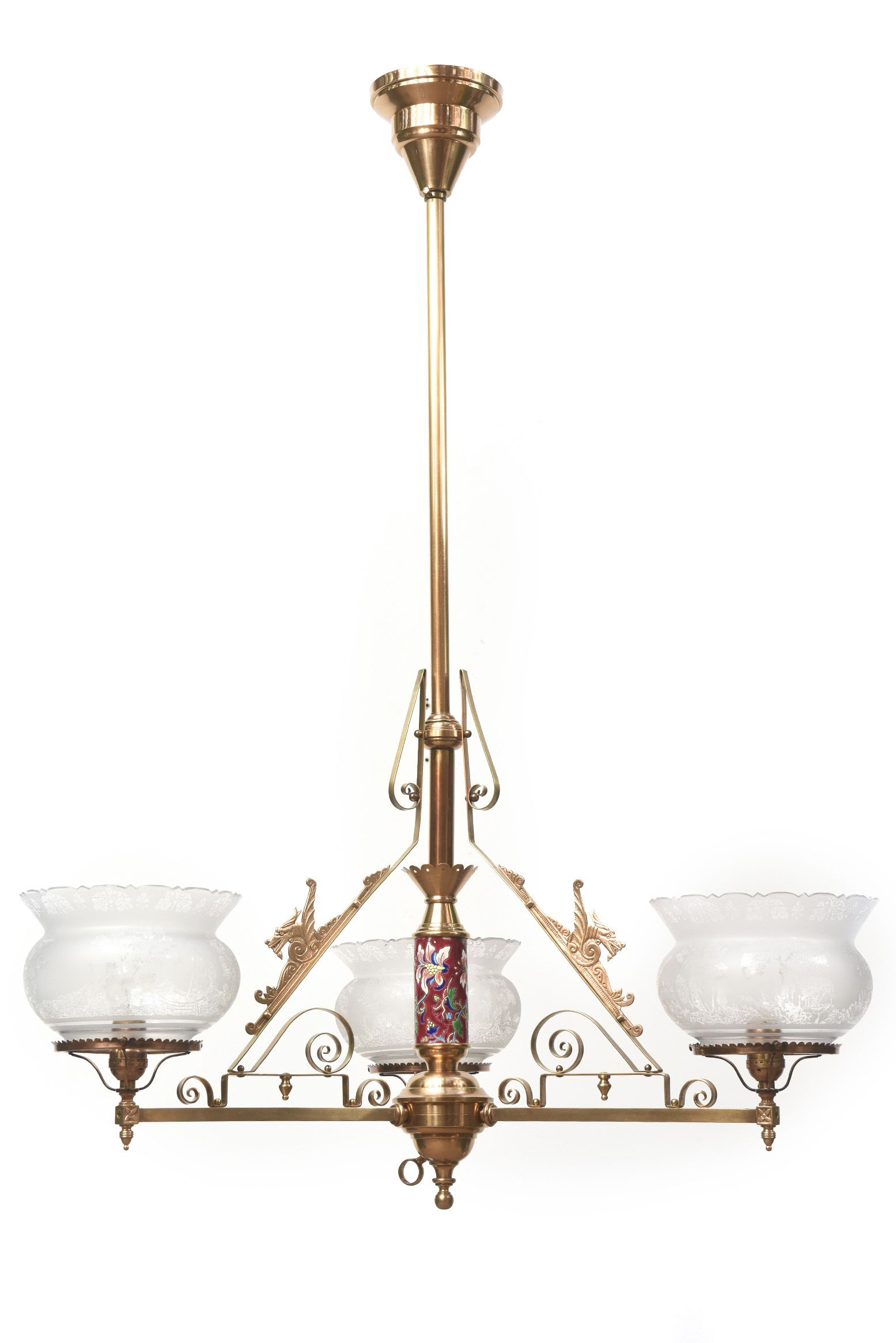 Three Light Aesthetic Movement Chandelier with Longwy and Dragons
