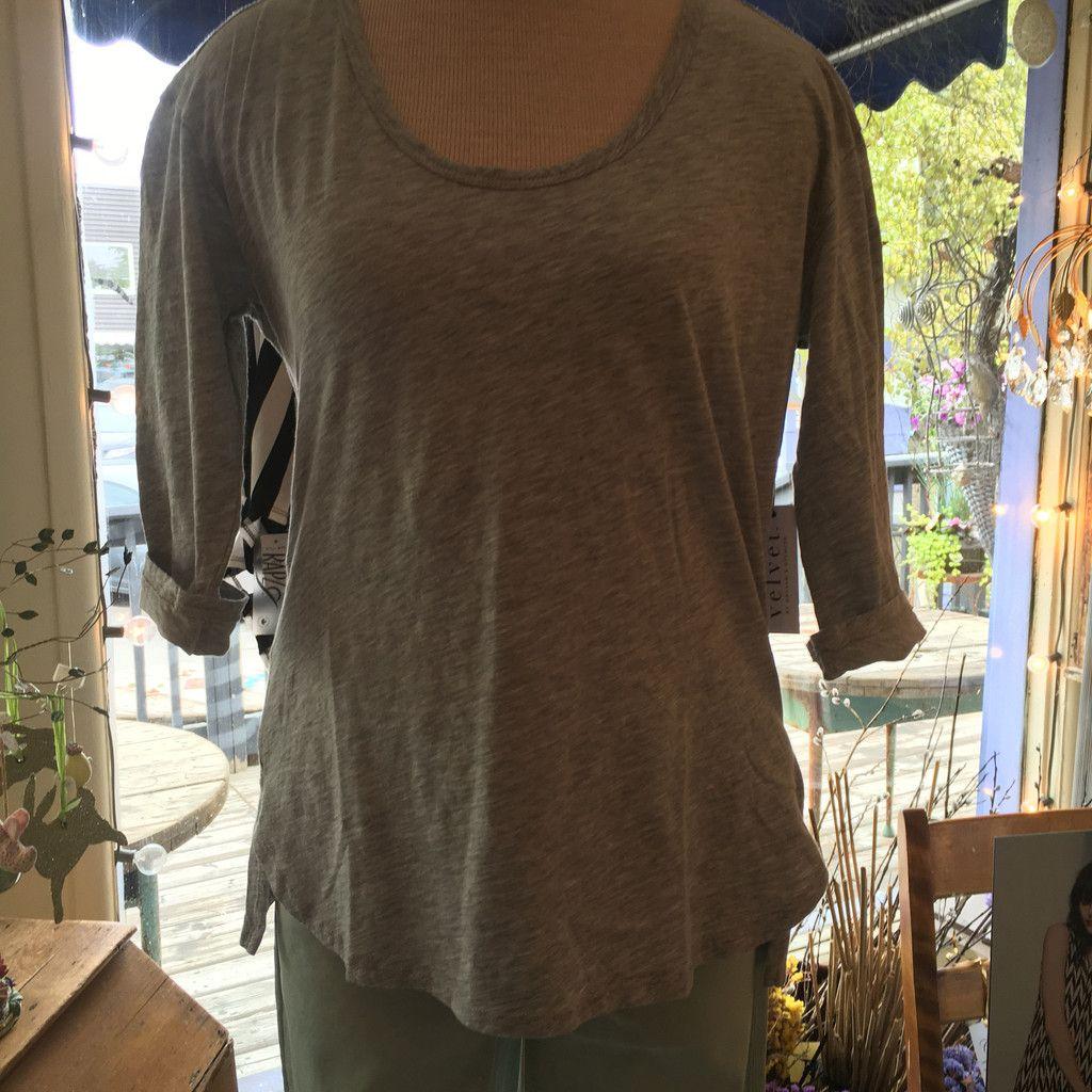 Velvet Picarda Cotton Slub T-shirt in Heather Grey #chateaucountrylace #velvetbygrahamandspencer #shopifypicks
