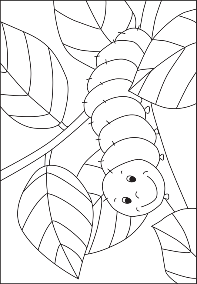 Caterpillar coloring template for pre-K and kindergarten