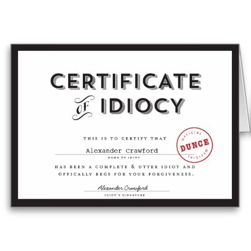 Certificate of Idiocy Apology Card Certificate and Cards - free printable apology cards