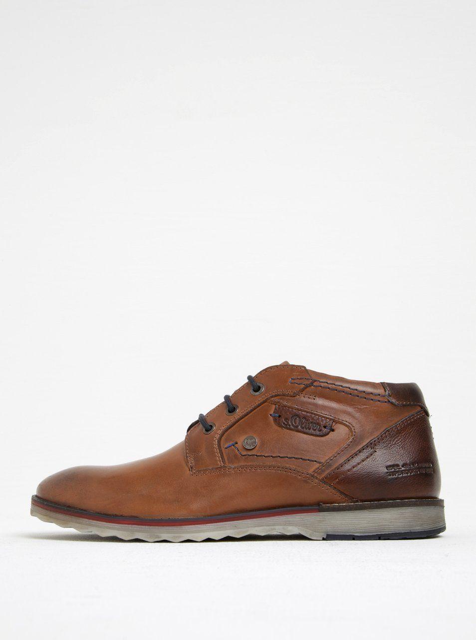 Hnědé pánské kožené kotníkové boty s.Oliver  420ce9ece9b